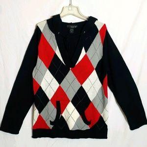 Hooded Argyle Sweater sz 22/24 W